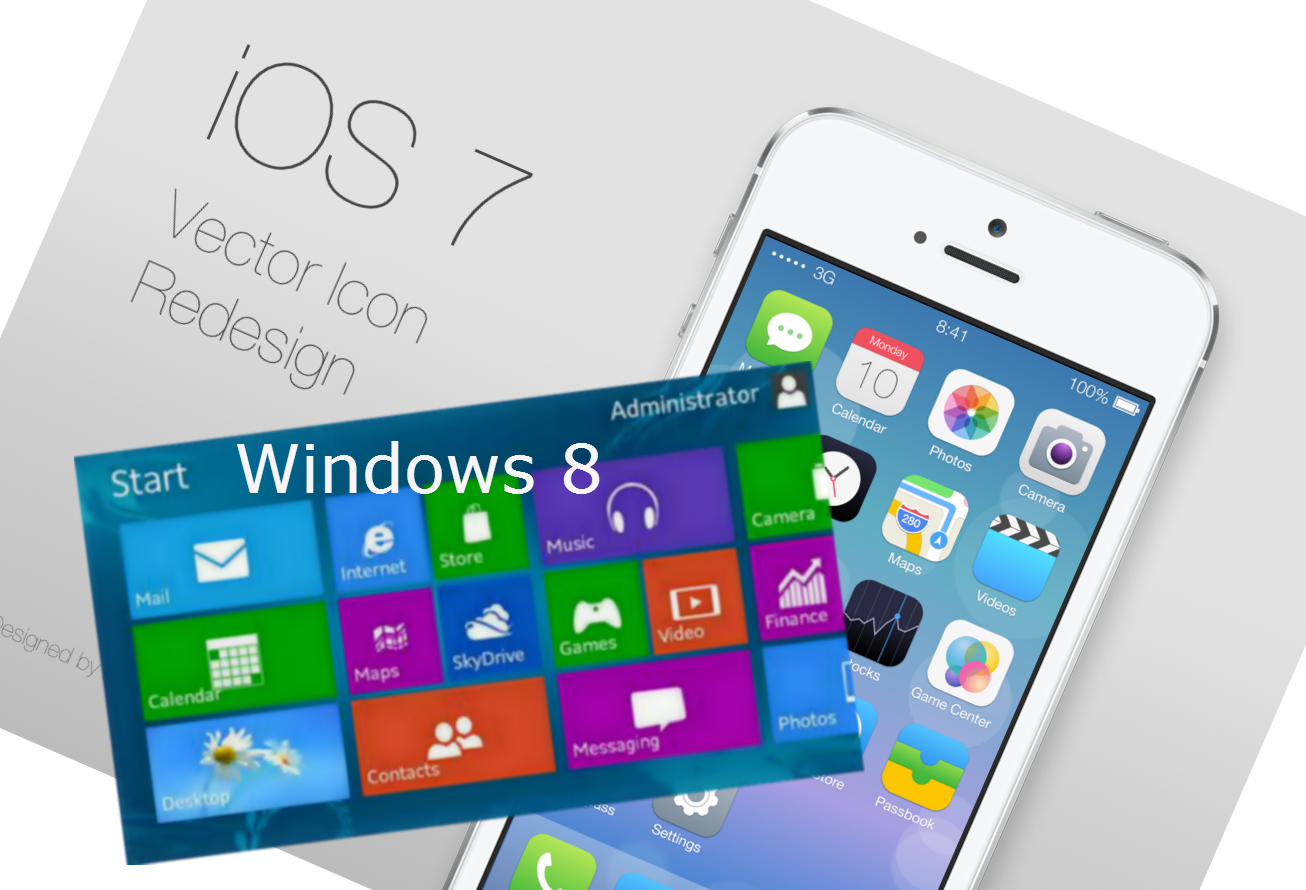 ios 7 and windows 8 Flat UI Design -IT Chimes